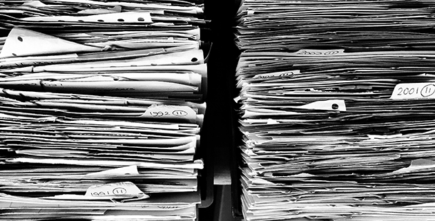 Piles of documents. Photo.