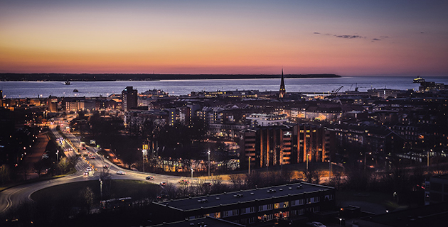 Night time view of Helsingborg. Photo.